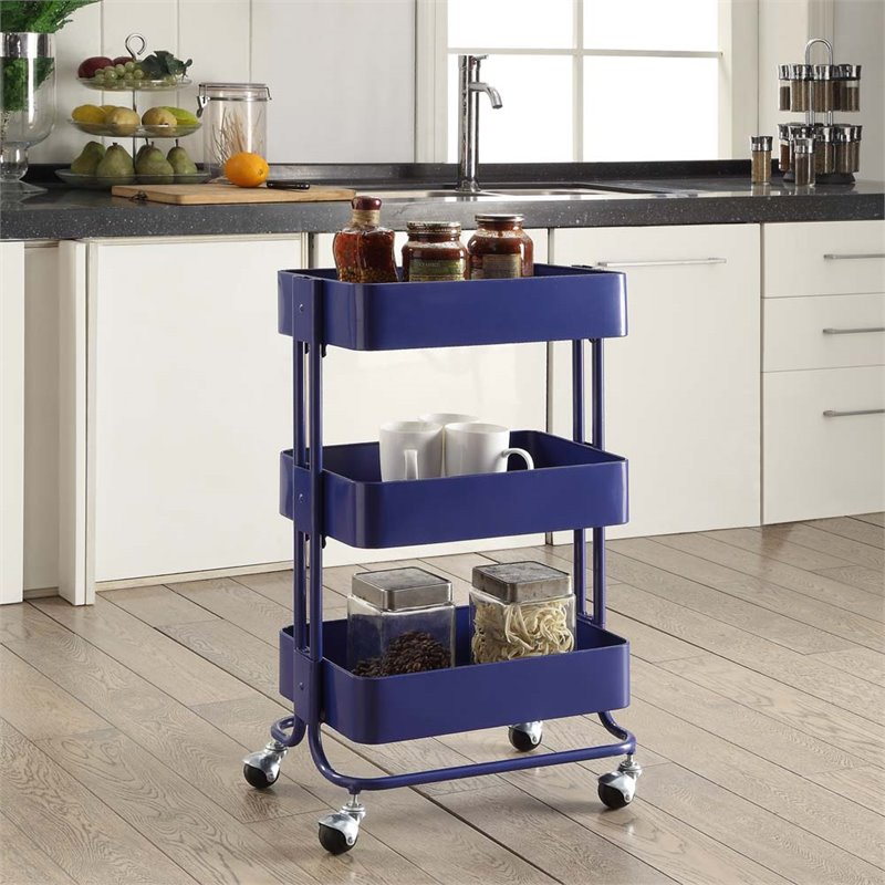 Linon Metal Three Tier Cart, 29 inches Tall, Royal Blue