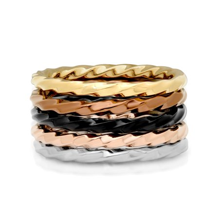 Five Gemstone Stack Rings - Women's Stainless Steel Multicolor Stacking Rings, Set of 5 - Womens Ring
