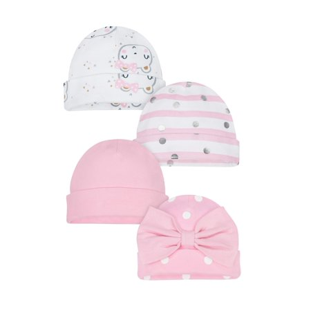 79fb6c8cb Gerber Organic Cotton Rib Caps, 4pk (Baby Girls)