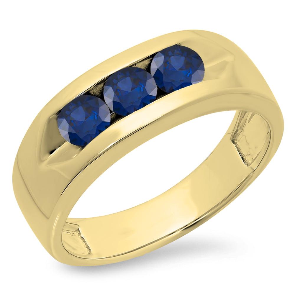 1.10 Carat (ctw) 14K Gold Round Blue Sapphire Men's Channel Set 3 Stone Anniversary Wedding Band 1 CT