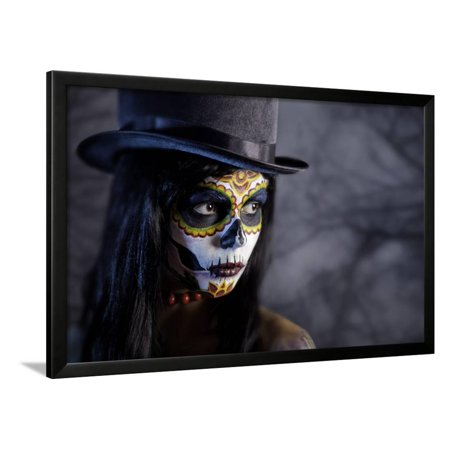 Sugar Skull Girl in Tophat in the Forest, Halloween Theme Framed Print Wall Art By Elisanth - Halloween Themed Art