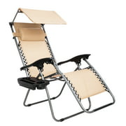 Folding Zero Gravity Lounge Chair Wide Recliner for Outdoor Beach Patio Pool w/Shade Canopy