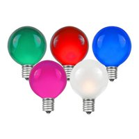 Novelty Lights 25 Pack G40 Outdoor Globe Replacement Bulbs, C7/E12 Candelabra Base, 5 Watt