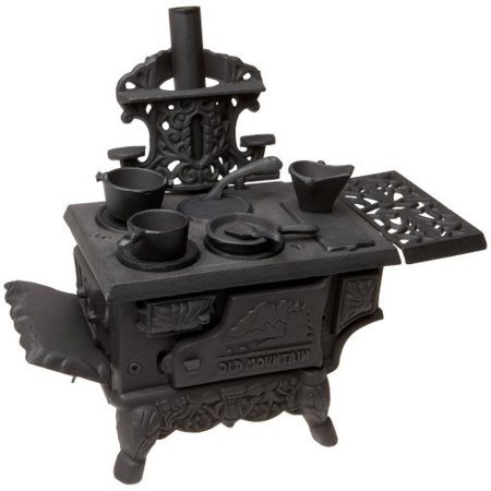 Black Mini Wood Cook Stove Set 12 Inches Long With Accessories (Wood Stoves Accessories)