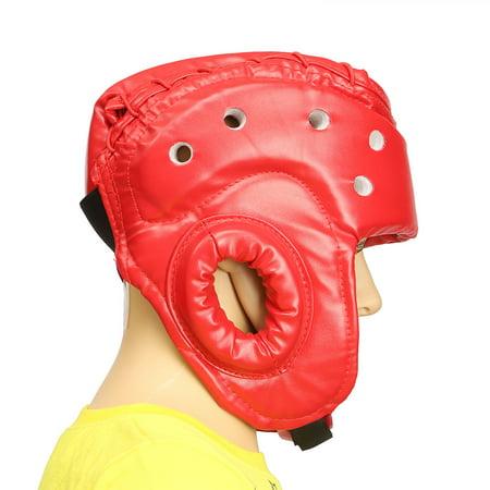 Boxing Helmet Face Guard Thicken Sanda Fighting Thai Adult Training L Red