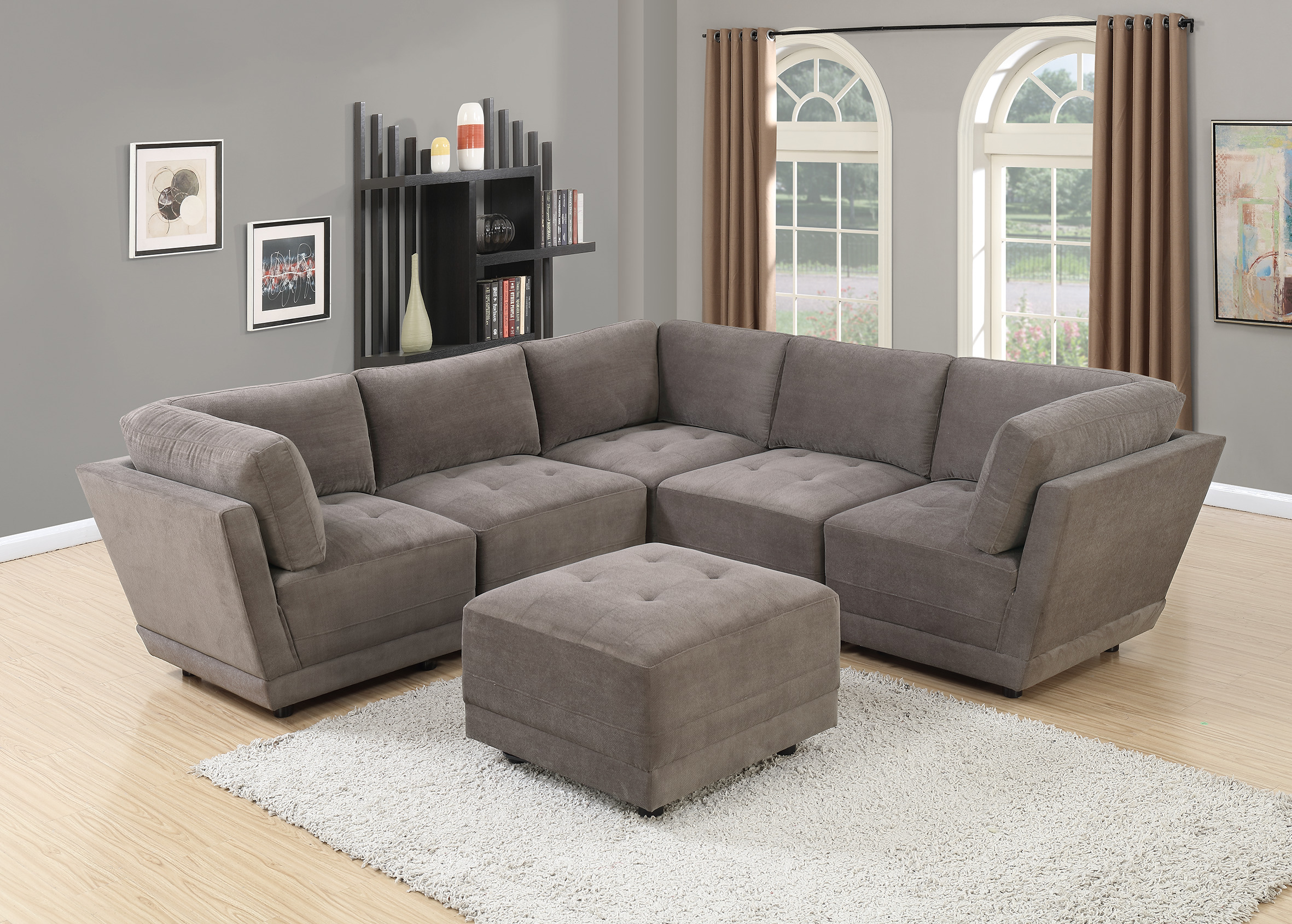 Living room furniture charcoal waffle suede fabric sectional sofa 6pc set tufted couch seat 3 corner wedge 2 armless chairs and ottoman walmart com