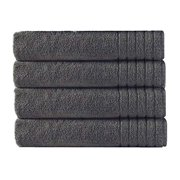 Super Zero Twist 4 Pack Oversized Bath Towel Set 30x54 - Charcoal - 7 Star Hotel Collection Beyond Luxury Softer Than A Cloud - 100% Pure Super Zero Twist Cotton