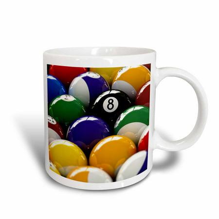 Pittsburgh Steelers Game Ball Mug (3dRose Colorful pool billiard balls with eight ball, Ceramic Mug, 11-ounce )