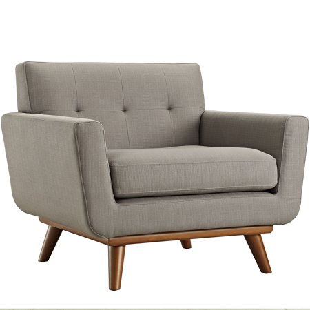 Modern Contemporary Upholstered Armchair, Grey Fabric