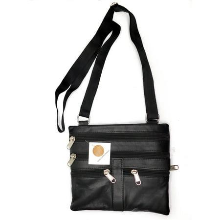 Small Black Purse - LI Genuine Leather, Small Neck Purse, Black