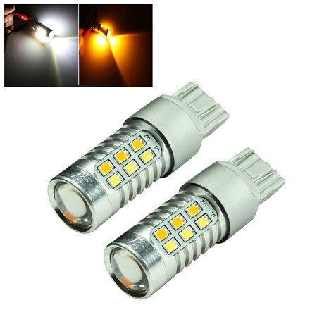 7443 High Power White Amber Yellow Dual Color 2835 22-SMD Type 2 Switchback Turn Signal/Parking Light Bulbs (7443, White/Amber)