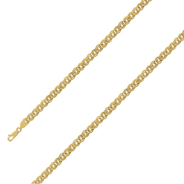Chain 10k Yellow Gold Hollow Double Cuban Chain Necklace For Men And Women 5 8 Mm Size 20 Inches Walmart Com Walmart Com