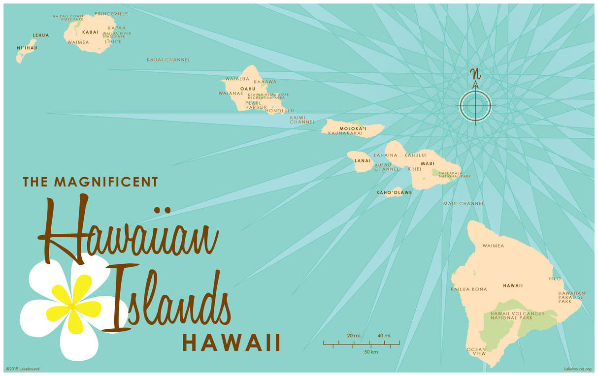 photo relating to Printable Map of Hawaii identify Hawaiian Islands Turquoise Map Traditional-Structure Artwork Print as a result of Lakebound (24\