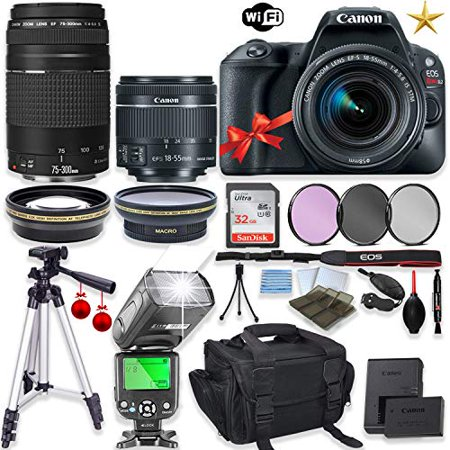 "Canon EOS Rebel SL2 DSLR Camera with Canon EF-S 18-55mm f/4-5.6 IS STM Lens+EF 75-300mm f/4-5.6 III Lens+32GB Sandisk Memory+TTL Flash+Filters+50"" Tripod+Holiday Special Bundle"