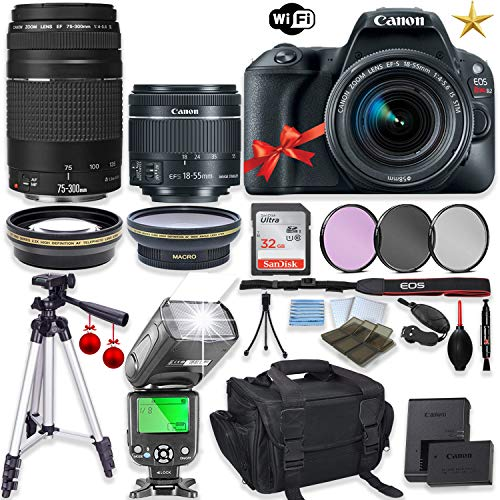 """Canon EOS Rebel SL2 DSLR Camera with Canon EF-S 18-55mm f/4-5.6 IS STM Lens+EF 75-300mm f/4-5.6 III Lens+32GB Sandisk Memory+TTL Flash+Filters+50"""" Tripod+Holiday Special Bundle"""