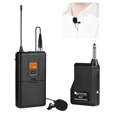 Fifine 20 Channels Cordless Microphone system , Portable and Receiver Lapel Microphone For Live Event And Performance](Plastic Microphones)