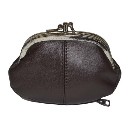 62038df7578 Leatherboss - Coin Purse Double Frame with Zipper Pocket - Walmart.com