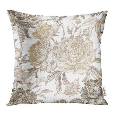 CMFUN Japanese Vintage Flowers Peonies Branches Leaves Gold Foil on White for Fabrics Pillowcase Cushion Cover 18x18 inch