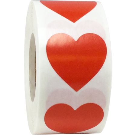 Red Heart Stickers For Valentine's Day Crafting Scrapbooking 1 Inch 500 Adhesive - Diy Stickers