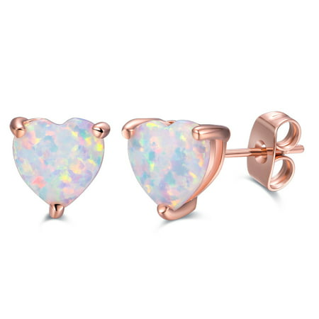 White Enamel 18k Gold Overlay - Fire Opal Heart Stud Earrings with 18k Rose Gold Overlay