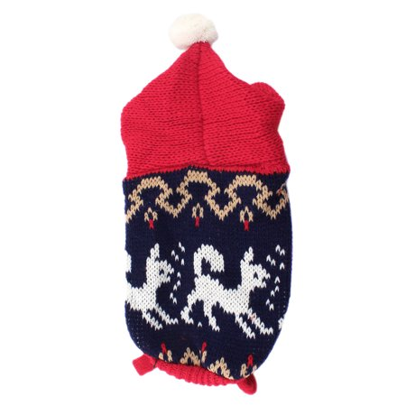 Knitting Patterns For Xxs Dogs : Red Navy Blue Dog Pattern Knitted Pet Doggie Puppy Sweater ...