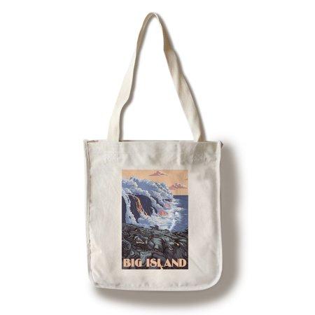 Free Flow Bag (Hawaii - Big Island - Lava Flow Scene - Lantern Press Poster (100% Cotton Tote Bag - Reusable))