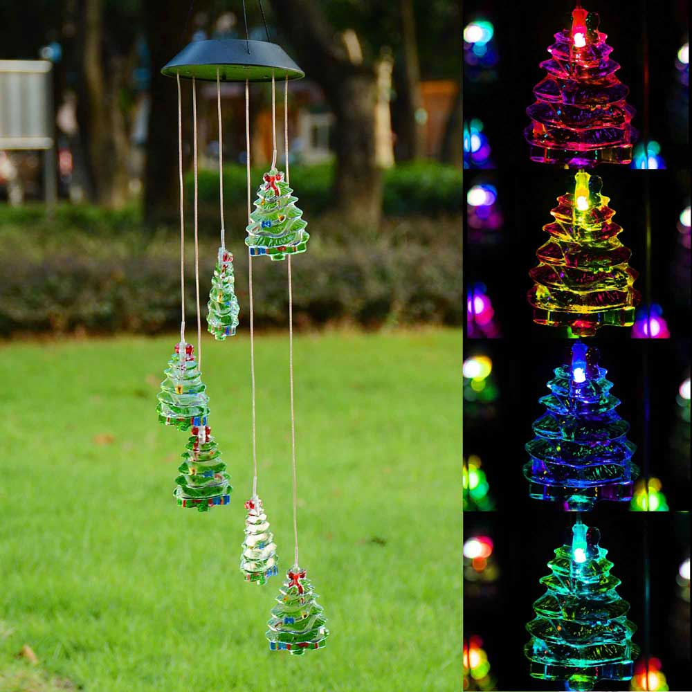 Solar Power LED Color Changing Wind Chime Outdoor Garden Courtyard Christmas Xmas Valentines Gift Decor Opt