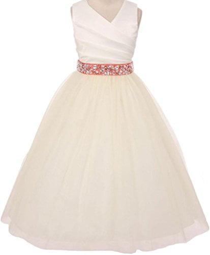 Big Girls' Ivory Rhinestone Belt Communion Flowers Girls Dresses Coral 10