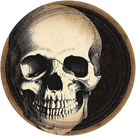 Creepy Halloween Boneyard Skull Crew Disposable Round Dessert Paper Plates 60 Piece, 7