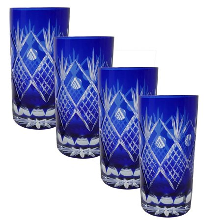 Set of 4 Exquisite Bohemian Crystal Style Cut Czech Drinking Rock Glasses Tumbler Set for Cocktails, Whiskey, Bourbon, Scotch,Beverage-Cobalt Blue (Bohemia Crystal Glasses)