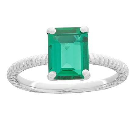 - Lavari - 1.0 Ct 8x6 MM Elongated Cushion Shape Created Emerald 925 Sterling Silver Birthstone Ring Size 7