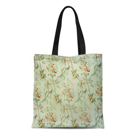 18th Century Pattern (LADDKE Canvas Tote Bag Green Old Vintage Floral Pattern of 18Th Century Orange Durable Reusable Shopping Shoulder Grocery Bag )