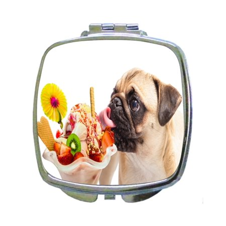 Pug Dog Licking an Ice Cream Sundae - Compact Square Silvertone Mirror