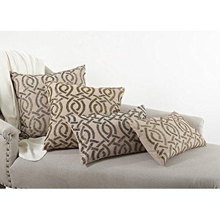 Bronze Pillow - Eloise Beaded Design Feather Filled Throw Pillow (12