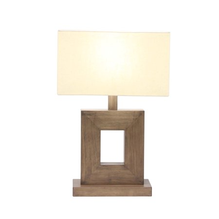 Decmode 21 X 7 Inch Rustic Iron and Pine Wood Square Table Lamp, Brown ()