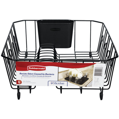 Rubbermaid Antimicrobial Dish Drainer, Large, Black