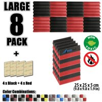 "Arrowzoom New Black and Red 9.8"" x 9.8"" x 1.9"" Wedge Studio Soundproofing Acoustic Foam Tile Panel, 8 pcs Pack"