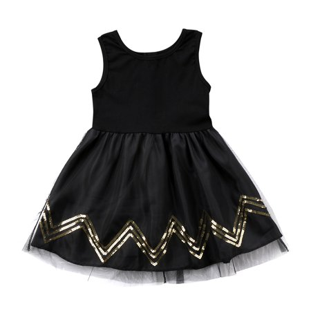 Baby Girls Black Sequins Princess Dress Kids Party Wedding Pageant Tulle Tutu Dresses 2-3 Years](Black Baby Girl)