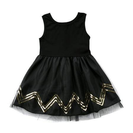 Black Corset Dress With Tutu (Baby Girls Black Sequins Princess Dress Kids Party Wedding Pageant Tulle Tutu Dresses 2-3)