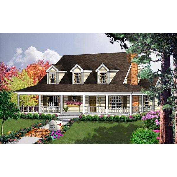 TheHouseDesigners-7925 Country House Plan with Basement Foundation (5 Printed Sets)