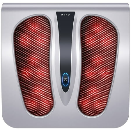 Miko Shiatsu Foot Massager Deep Kneading Massage Therapy With Heat Portable (Silver)