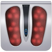 Miko Foot Massager Machine with Heat, Shiatsu Electric Foot Massager Great for Plantar Fasciitis, Neuropathy, and Tired Feet (Silver)