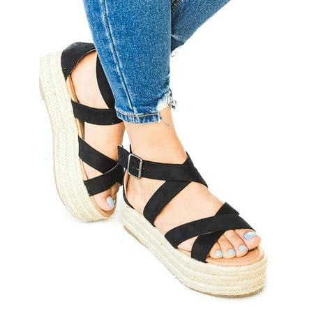 Unique Platform Shoes (Womem Espadrilles Flatform Sandals Summer Ankle Buckle Platform)