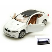Diecast Car w/LED Display Case - BMW M3 Coupe, White - Motormax 73347W - 1/24 Scale Diecast Model Toy Car