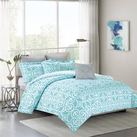 Bedding Comforter 7 Piece King Size Bed Set Teal Blue And White Medallion