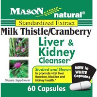 Mason Natural Milk Thistle And Cranberry Capsules  Liver And Kidney Cleanser   60 Ea