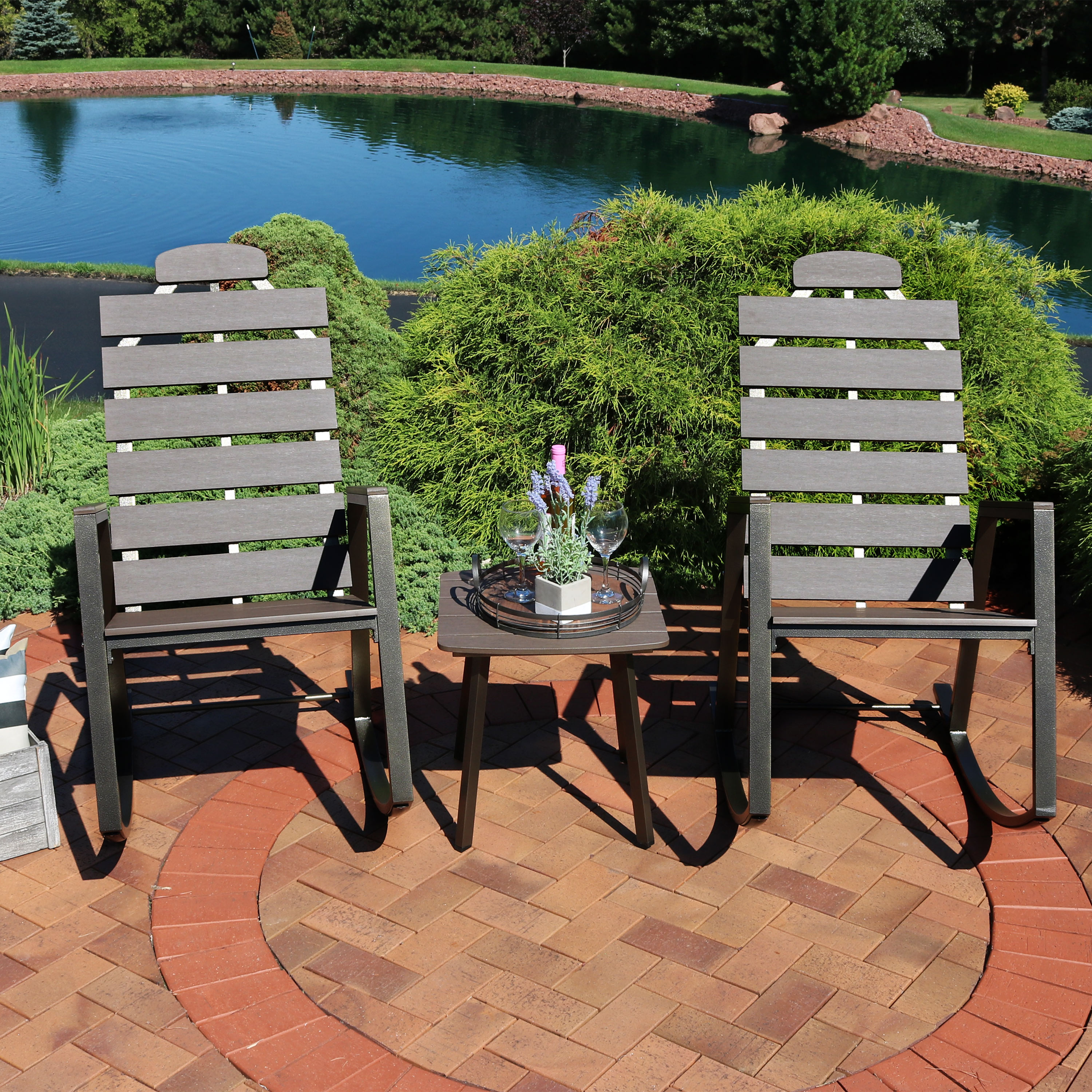 Sunnydaze All Weather Slatted Outdoor Patio Rocking Chairs With Side Table Front Porch Furniture 3 Piece Set Faux Wood Design
