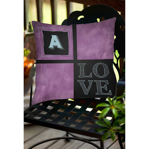 Thumbprintz Chalkboard Monogram Purple Decorative Pillows