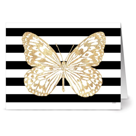 Blank Card Paper (24 Note Cards - Bold Butterfly Paper Kite - Blank Cards - Kraft Envelopes Included )