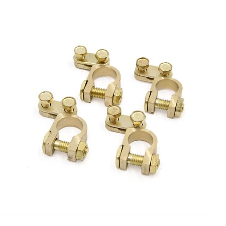 4pcs Gold Tone Copper Alloy Battery Terminal Clamps Clips Adapters for Car -